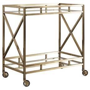 Eloise Metal + Glass Bar Cart - Antique Brass - Inspire Q : Target