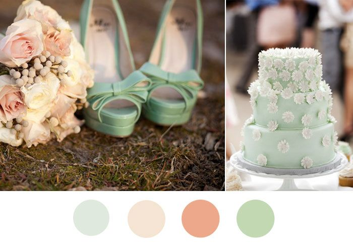 Mint green and blush pink wedding colors