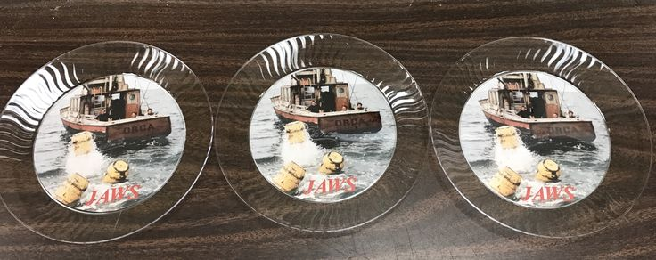 Jaws cake plates made with clear plate with card stock with Image from Jaws 1