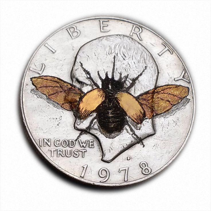 5 Horned Beetle Landing #S349 Ike Dollar Hobo Nickel Engraved by Luis A Ortiz