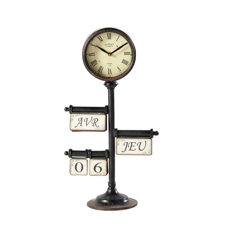 Maison du monde ambiance industrielle horloge calendrier poser en m tal noire d 30 cm zo - Horloge a poser maison du monde ...