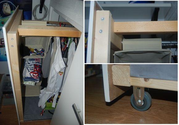 platsbyggd säng,förvaring under säng,garderob under säng,barnrum
