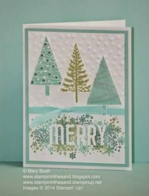 Gorgeous Christmas card and matching tag set from the Stampin' Up! Festival of Trees and Seasonally Scattered stamp sets Christmas card. By Mary Bush, details: http://stampininthesand.blogspot.com/2014/11/scattered-merry-trees.html #stampinup #christmas #cardmaking #crafting