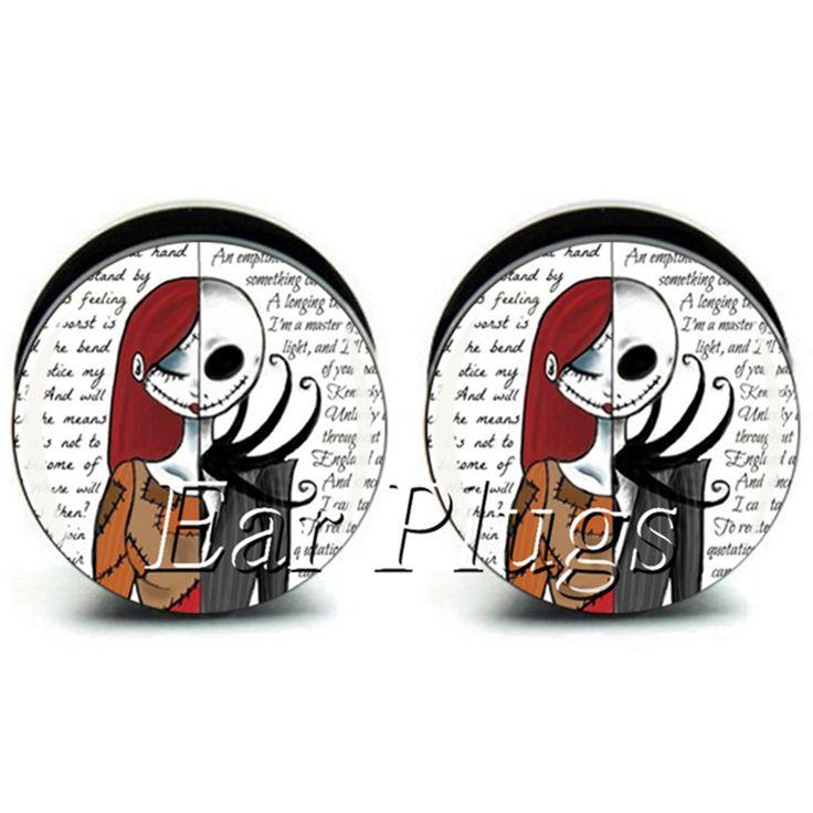 1 ペア ジャック と サリー耳プラグ ゲージ ブラック アクリル ネジ フィット耳栓肉トンネル ボディ ピアス ジュエリー PSP0714