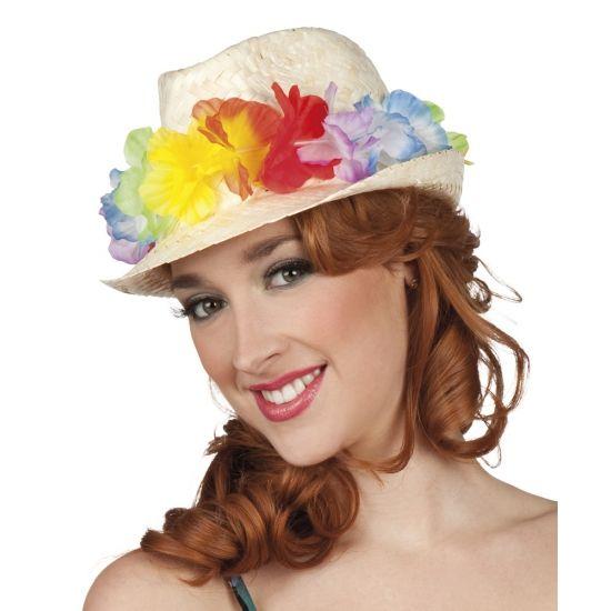 Hawaii hoedje met bloemetjes. Hawaii of tropisch feestje? Bij Fun en Feest vind je de leukste Hawaii feestartikelen, kostuums en accessoires. Toppers Crazy Summer hoedje tip!