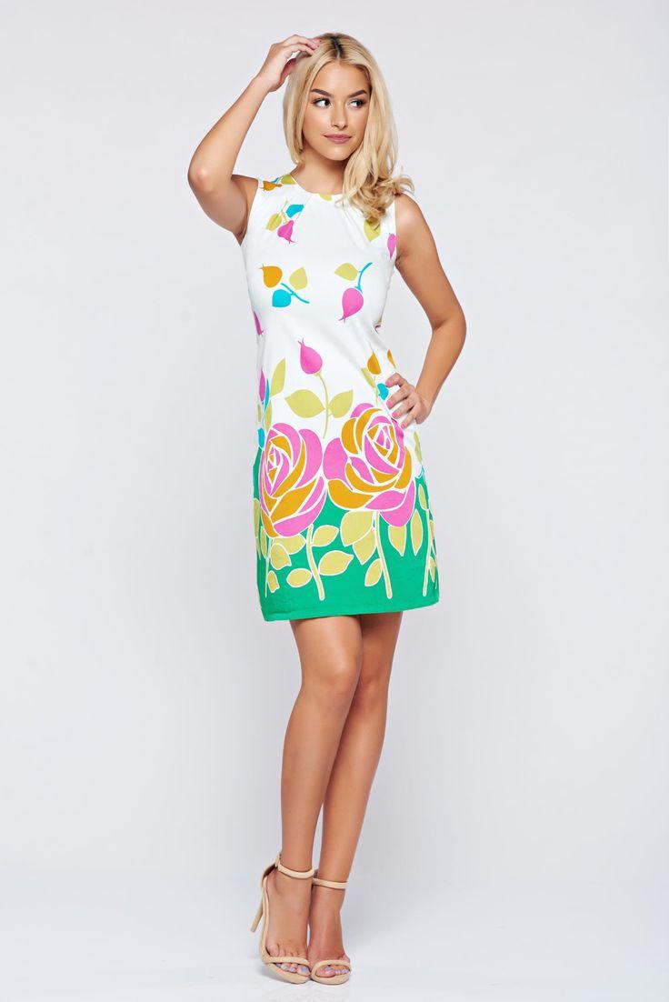 Comanda online, Rochie Fofy verde fara maneci cu imprimeu floral. Articole masurate, calitate garantata!