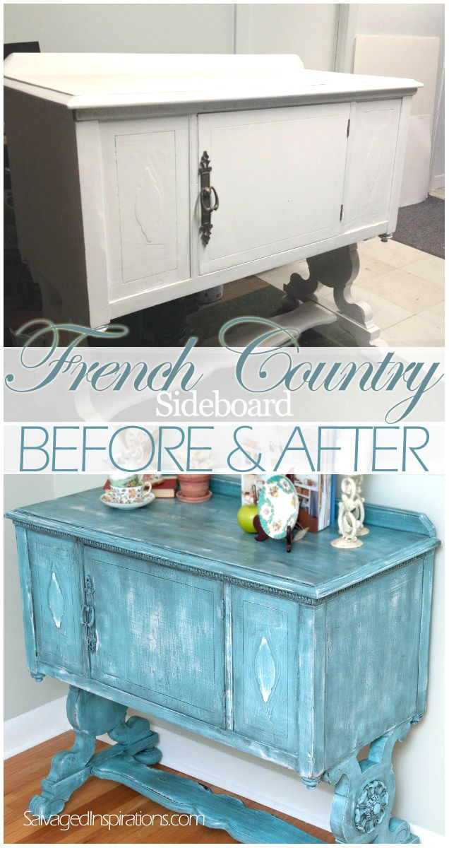 Salvaged Inspirations | Turquoise French Country Sideboard Before & After: