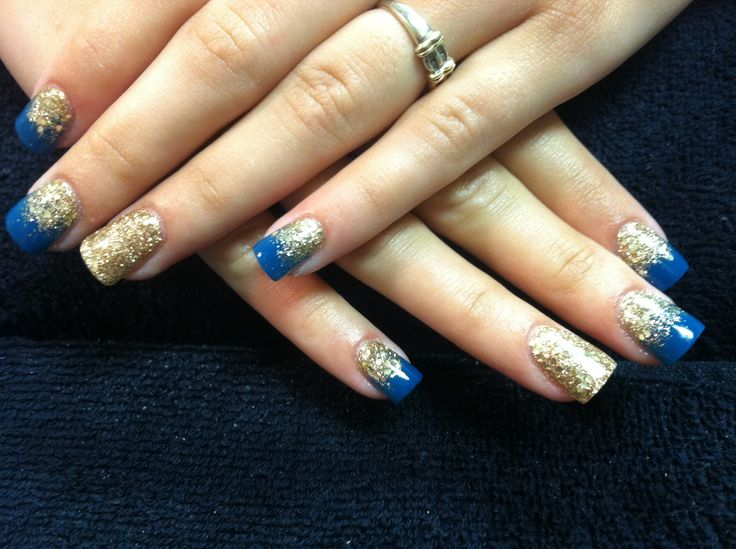 Acrylic nails gold blue glitter fade my acrylic nails for Acrylic nails at salon