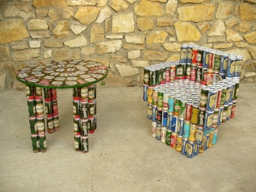 Amazing Armchair And Little Table Made With Soda And Beer Can?
