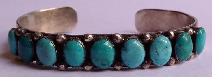 VINTAGE NAVAJO INDIAN STERLING SILVER & TURQUOISE CUFF ROW BRACELET #Cuff