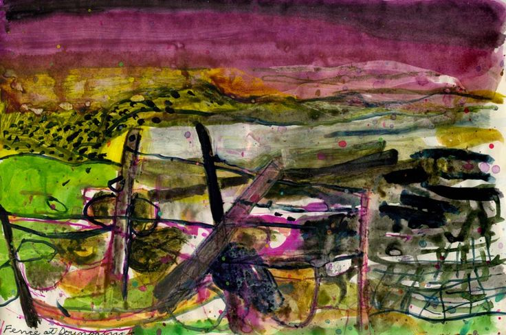 Barbara Rae sketchbook Fence at Dounpatrick 2002