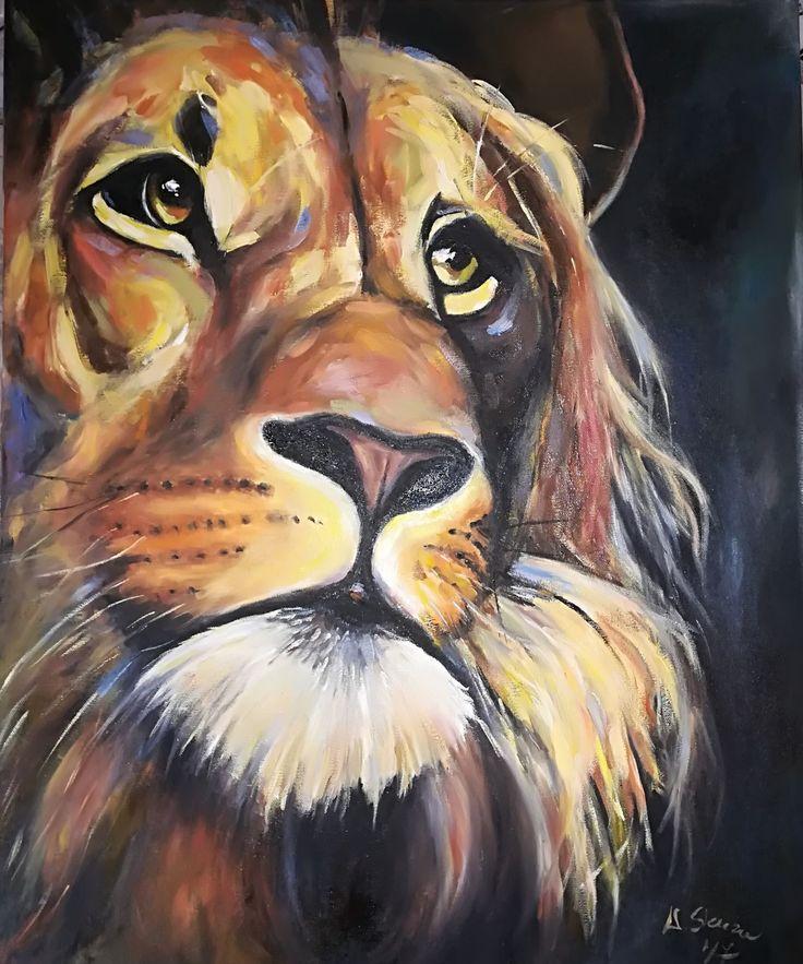 Lion , original oil painting, animal painting by weronika skuza  animal in Art