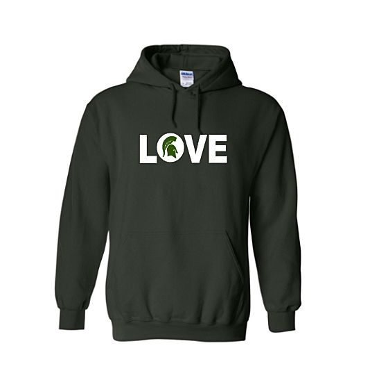 Repin Now.  Love MSU Spartans Hoodie https://royalmajestees.com/product/love-msu-spartans-hoodie/   $35.00 #msu #spartans #michigan #state #university #love #hoodie #clothes #clothing #apparel #fan #gear #football #basketball #sports #sweatshirt #shirt #sparty