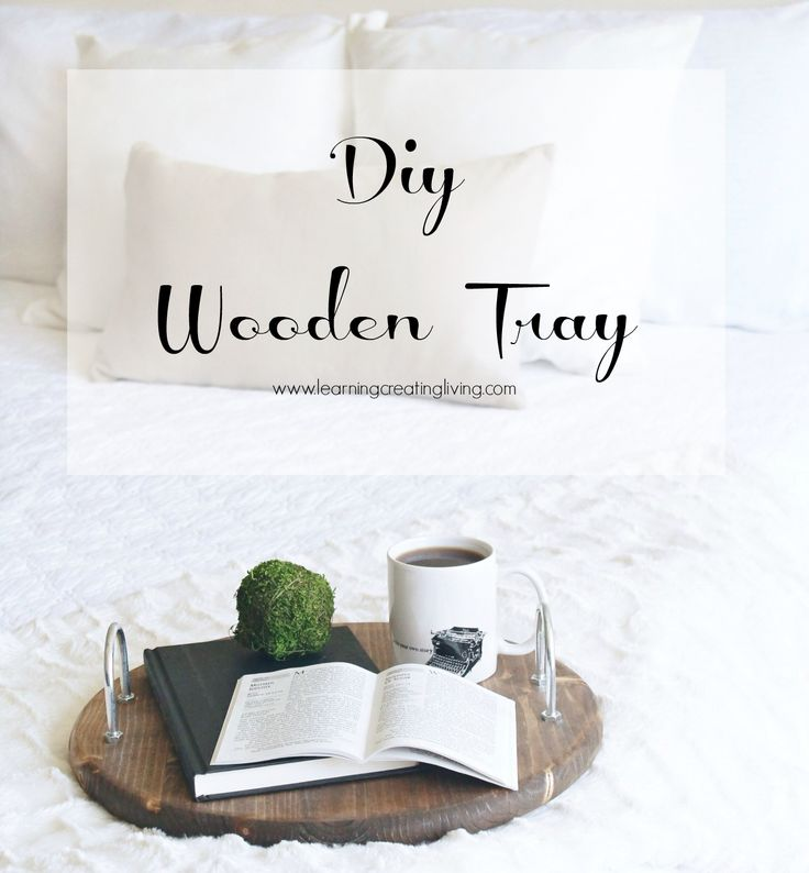 Diy Wooden Tray. All you need is stain, u-bolts & pine round wood, easy to make & is great to use in a kitchen, bedroom or anywhere. - learningcreatingliving.com