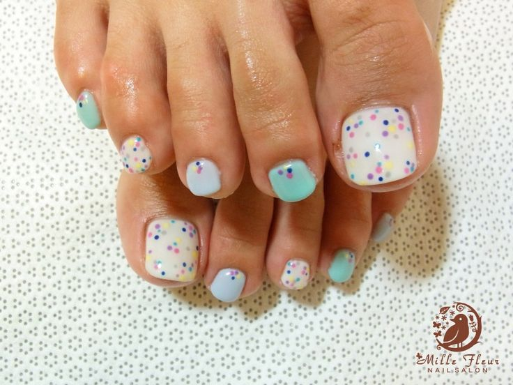 57 best nails 2 images on pinterest enamel hair and hairstyles aqua bluish green white colour polka dots rhinestones toenail design prinsesfo Image collections