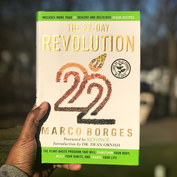 Just got this book in the mail! The 22-Day Revolution by Marco Borges! Plus, the foreword is by one of my my favorite people ever, Beyoncé! 🌱 #the22dayrevolution #marcoborges #vegan #beyonce #recipes #weightlossjourney #weightloss #health #healthyfood #healthyliving #bookstagram #book #22daysnutrition