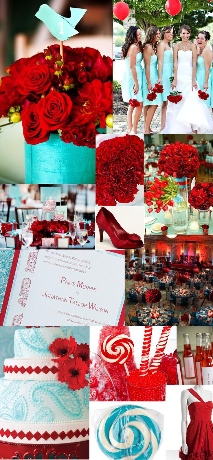 tiffany blue and poppy red! (or pool and persimmon according to Davids bridal) I LOVE this color scheme. don't know that i would actually use it, but it's very bright, happy, and vintage looking.