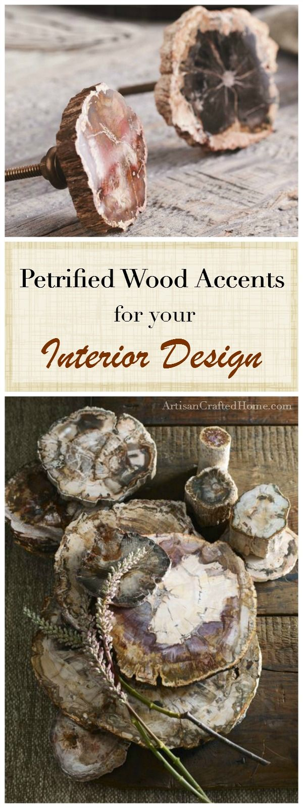Gorgeous petrified wood accents for your home decor! Decorative slabs, drawer pulls, bathroom sinks, etc.