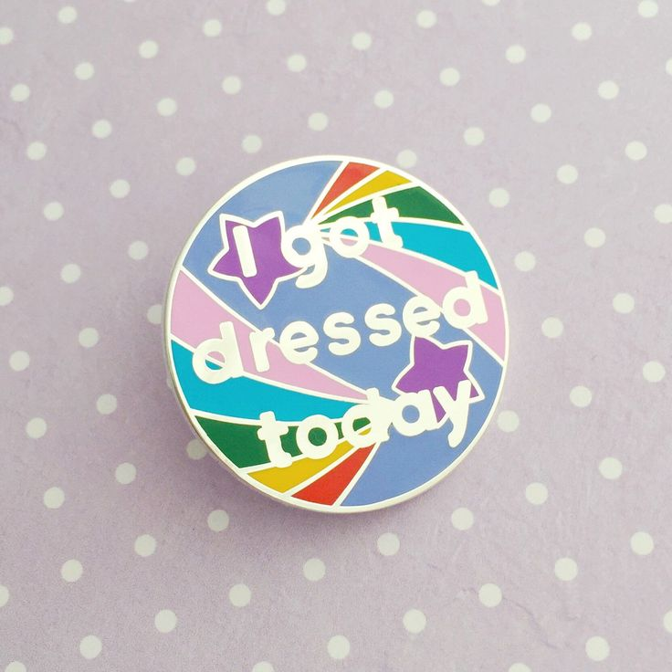 From our Adult Achievement Stickers, this hard enamel pin badge features the I got dressed today design - celebrate small victories and reward yourself with this pin of positivity. Measures 3.2cm in diameter. Clutch back. Please check the size before buying!   Please read my shop policies and FAQs carefully before making a purchase. You can find them on the Shipping & Policies tab under the listing pictures or via this link: https://www.etsy.com/uk/shop/fairycakes...