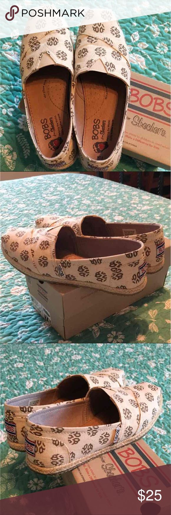 Bobs from Skechers Bobs from Skechers, slip on, natural/brown, in EUC, womens 7.5! Skechers Shoes Flats & Loafers