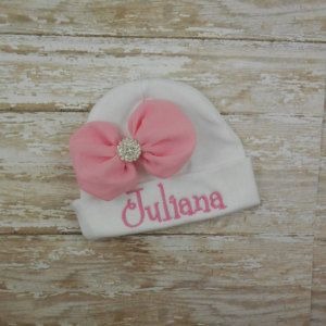 Baby gilr hospital hat, Baby girl hat, Personalized, monogramm, Name, embroidered baby hat, newborn baby girl hat, cap, infant, photo prop