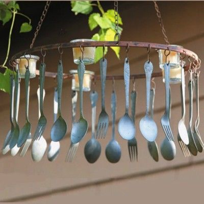 Love this: Old Silverware, Idea, Homemade Wind Chimes, Outdoor Candles, Windchimes, Back Porches, Diy Projects, Recycled Gardens, Outdoor Eating