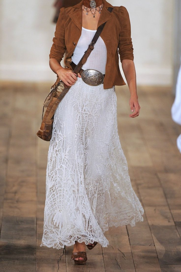 Ralph Lauren lace skirt...like the whole look just add different shoesor boots...