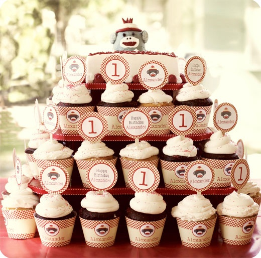 Sock monkey cupcake tower - printable wrappers & toppers from Chickabug.com