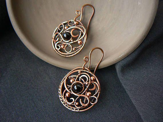 Mandala earrings black tourmaline stone Wirewrap aged copper