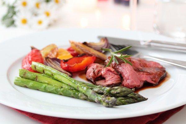 Grillet entrecote med grillede grønnsaker og balsamicosaus