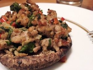 [Whole 30] ---- Stuffed Mushrooms:: 4 large portobello mushroom caps, 1 Tbs bacon fat, 1/2 minced red bell pepper, 1/2 minced small yellow onion, 1 lb. ground pork, 2 c spinach finely chopped, 1 minced clove garlic, 1 tsp sea salt, 1 tsp fennel seeds crushed, 1/2 tsp ground sage, 1/2 tsp garlic powder, 1/2 tsp onion powder, 1 tsp dried parsley.
