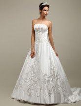 vestido de noiva de cetim em linha-A sem alças
