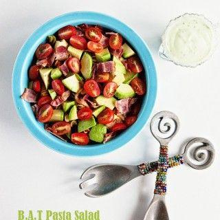 Bacon Avocado Tomato Pasta Salad with Avocado Ranch Dressing