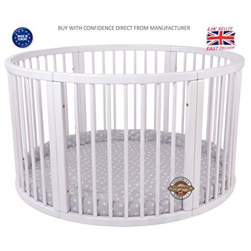 Brand NEW VERY LARGE Wooden Round PLAYPEN ATLAS DUE with play-mat in Grey with white Stars by MJmark SALE SALE