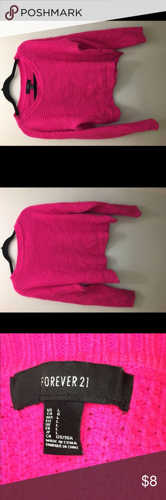 Hot pink sweater A hot pink knit sweater Sweaters Crew & Scoop Necks