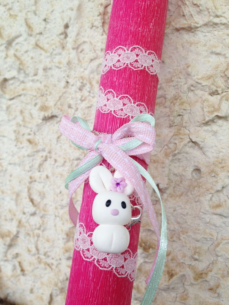 Easter Aromatic Candle with Girl Bunny Necklace _ Easter Collection _ Special Edition _ Polymer clay by MarisAlley on Etsy
