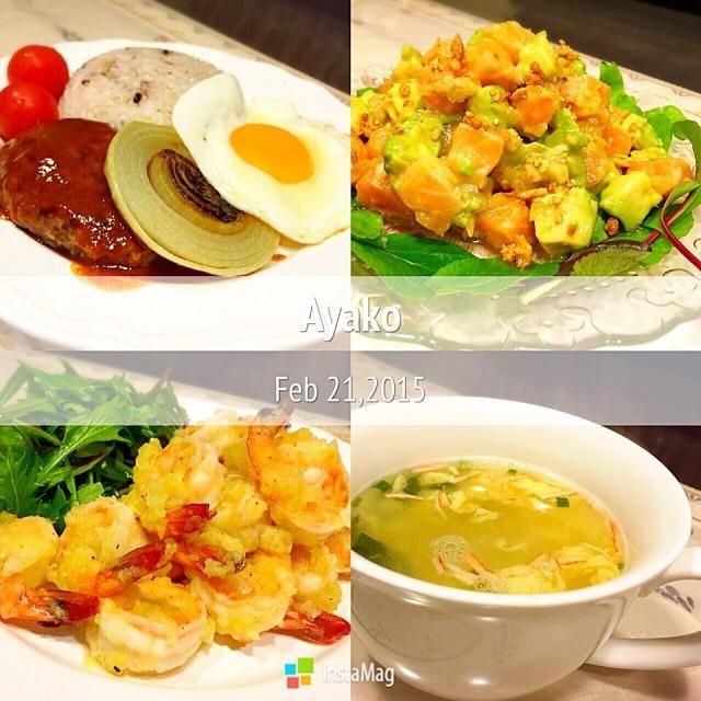 今日は、ハワイ料理〜(≧∇≦) ロングライス=春雨(*^^*) - 90件のもぐもぐ - オニオンロコモコ、サーモンとアボカドのポキ、ガーリックシュリンプ、ロングライススープ by ayako1015