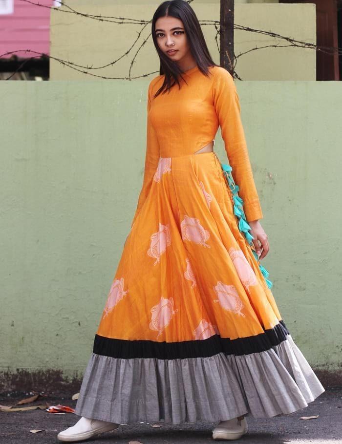 Orange Cut Out Waist Long Flared Kurta with Ruffled Hem