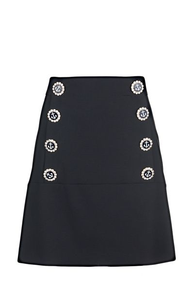 Dolce & Gabbana virgin wool A-line skirt with high waist, silk and lace lining, concealed zip closure in the back and decorative nautical themed buttons in the front  The model is 1,75m tall and is wearing size 38