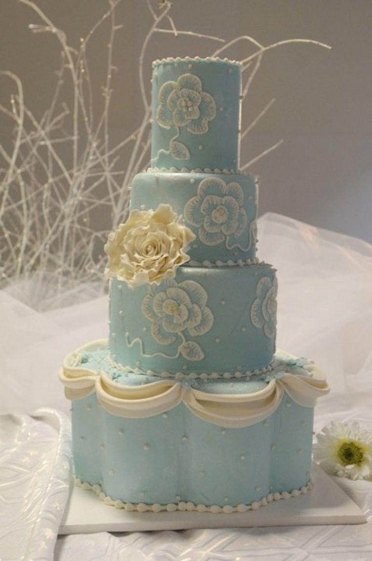 Pastel Blue Wedding Cake! on Cake Central