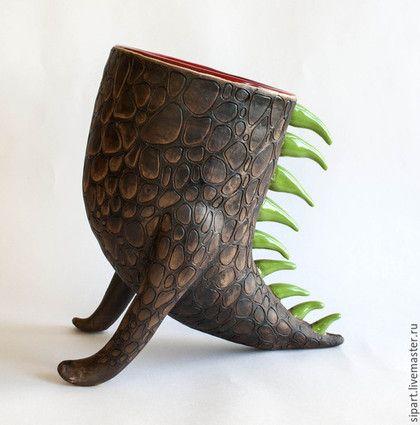 """Ceramic vase / Вазы ручной работы. Ваза """"Каменный дракон"""". Светлана Осипова (Sipa). Интернет-магазин Ярмарка Мастеров. Дракон, для дома и интерьера"""