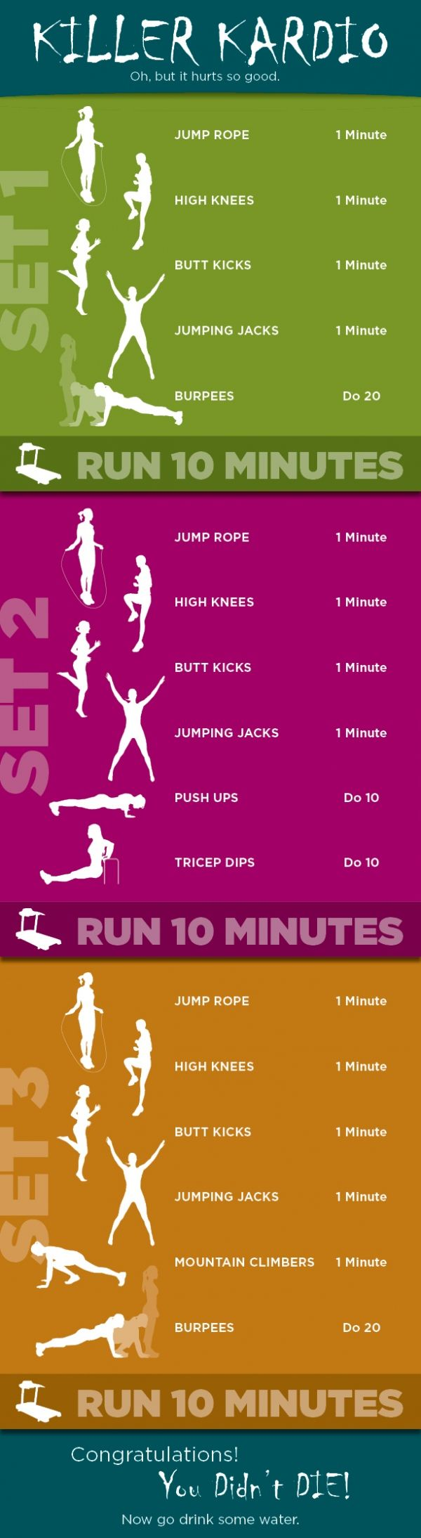 I did the first set as is and i felt like i was gunna die. so I cut everything in half with my coworker and we still felt like we were going to die.... Killer Kardio Workout. Two days of this and one week of soreness... Try it!