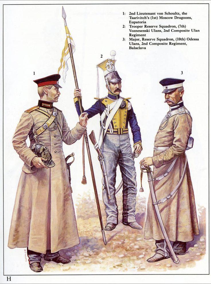 Russia; Tsarivitch's(1st) Moscow Dragoons, 2nd Lieutenant von Schoultz, Eupatoria. Reserve Squadron (7th) Vosnesenski Uhlans, 2nd Composite Uhlan Regiment, Trooper & Reserve Squadron (10th) Odessa Uhlans, 2nd Composite Uhlan Regiment, Major, Balaclava. 1854