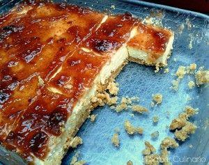 Cuando pruebes esta tarta de queso con leche y mermelada de higos te quedarás…