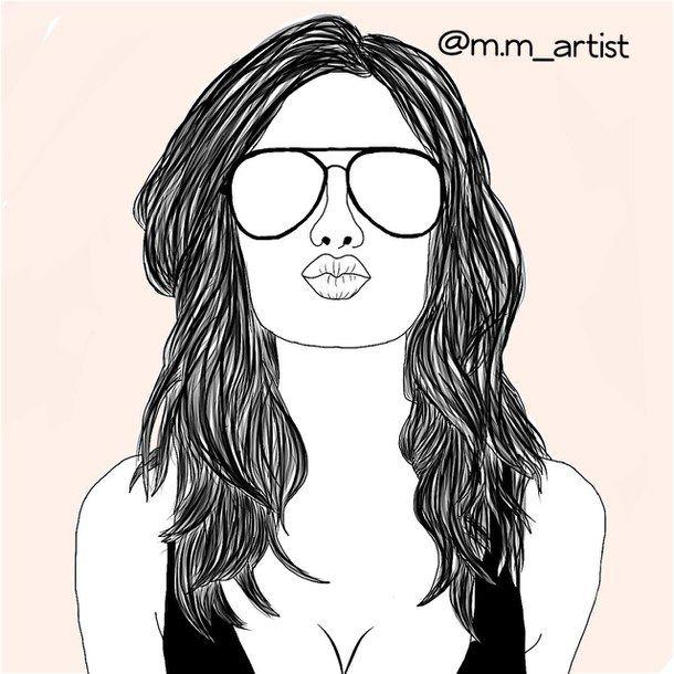 art, dessin, mode, cheveux, été, lunettes de soleil