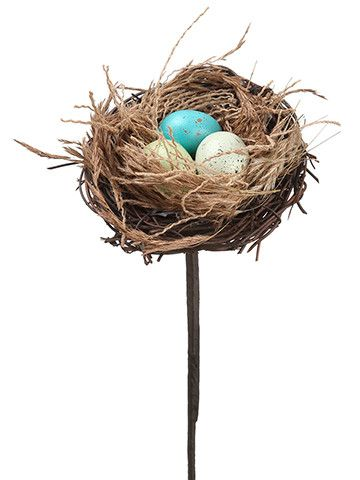 "Artificial Bird Nest Pick with Eggs 12"" Tall"