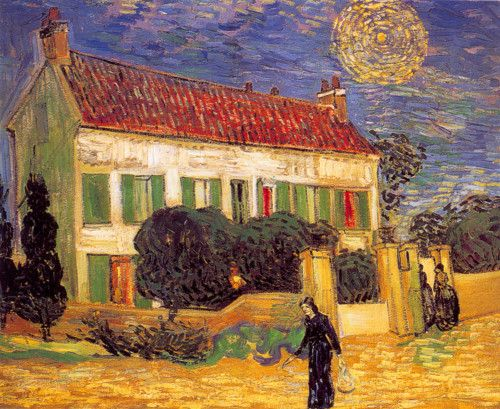 AUVERS-SUR-OISE juni 1890 / wit huis in de nacht met enkele figuren en een ster / Vincent van Gogh, White House at Night, 1890.