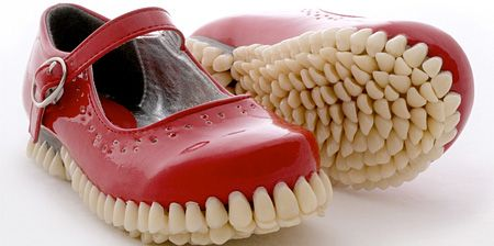 Shoes with Human Teeth