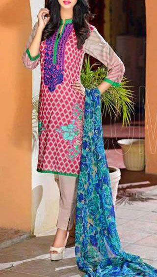 Buy Magenta/Grey Embroidered Cotton Lawn Dress by Combinations 2016