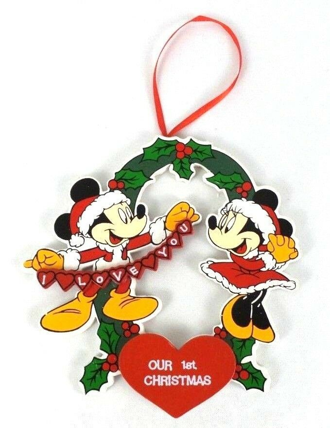 Vintage Disney Mickey Minnie Our First Christmas Ornament Kurt Adler Waltdisneyco Minnie Mouse Christmas Our First Christmas Ornament Mickey Mouse Wallpaper